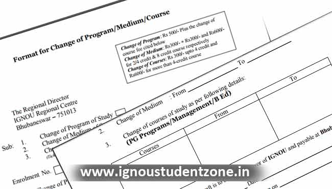 change of medium from ignou