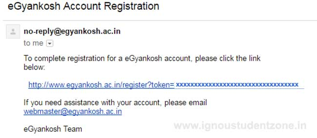 Ignou egyankosh account registration email