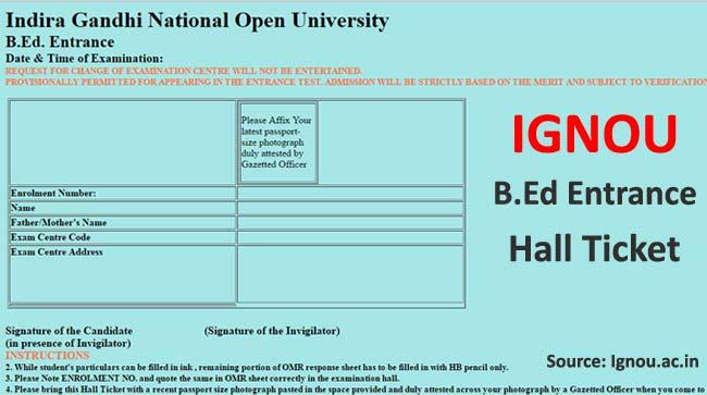 Download Ignou B.Ed Entrance Hall Ticket