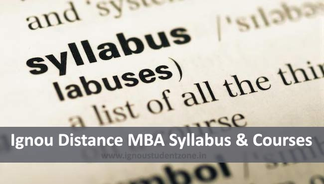 Ignou Distance MBA Syllabus & Courses