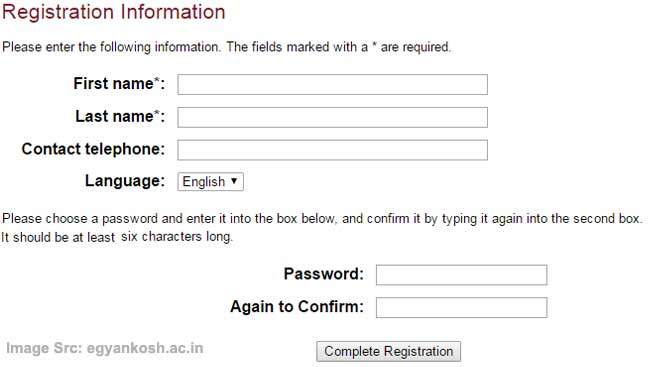 Ignou egyankosh registration form