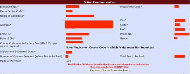 ignou exam fee online payment form