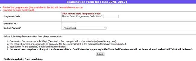 Ignou examination form online