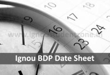 Ignou BDP date sheet for June & December exams