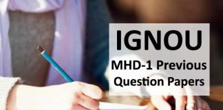 Ignou MHD 1 question papers