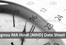 Ignou MHD date sheet for June & December exams