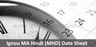 Ignou MHD date sheet for June & December exams