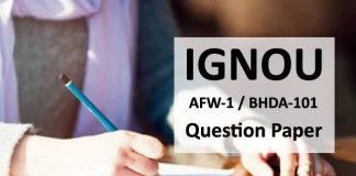 Ignou AFW 1 Question Paper, Ignou BHDA 101 Question paper
