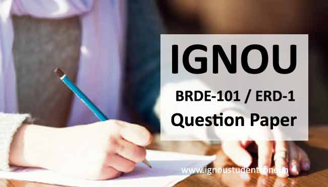 Ignou BRDE 101 Question Paper