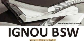 Ignou BSW Course Syllabus