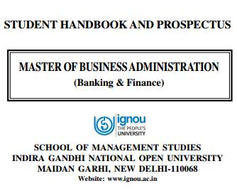Ignou MBA Banking and Finance prospectus