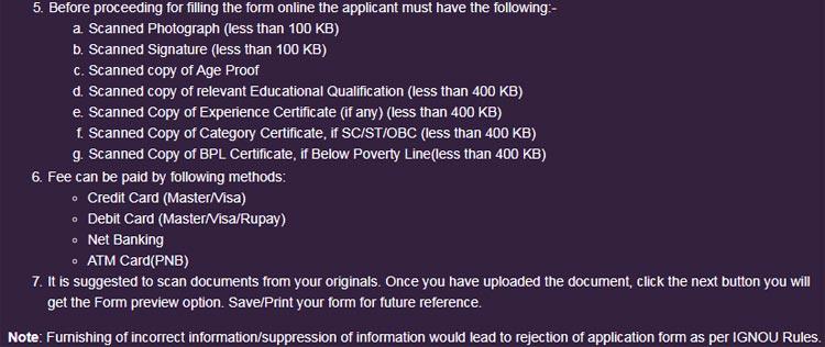 online admission guidelines of ignou m.com