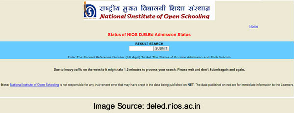 NIOS DELED Admission Status