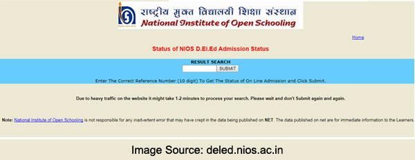 NIOS DELED Admission Status