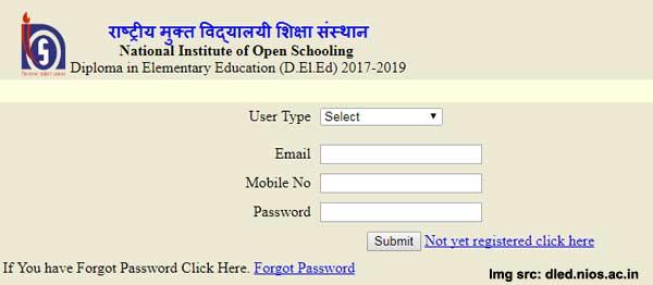 NIOS DELED PCP schedule upload login form
