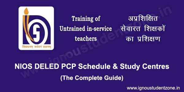nios deled pcp schedule & study centre list