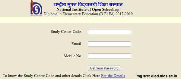 NIOS DELED registration for State nodal officer and Study cenytre coordinator