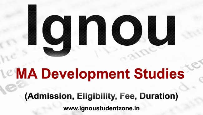 IGNOU MADVS programme - Master of Arts in Development Studies
