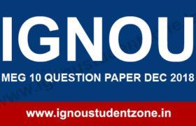 IGNOU MEG 10 Question Paper Dec 2018