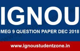 IGNOU MEG 9 Question Paper Dec 2018